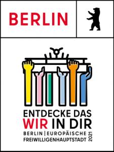 """Das Logo von""""Berlin / Europäische Freiwilligenhauptstadt 2021"""""""